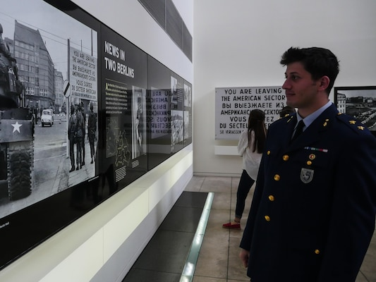 Turkey air force Lieutenant Ugur Ziyal, observes a display at the Newseum in Washington, D.C. Ziyal was a part of the April Public Affairs Course for International Students. As part of the course, international students visited various governmental organizations and historical landmarks. (DoD photo by Joseph Coslett)
