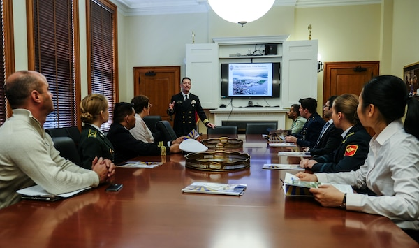 Public Affairs Course for International Students Class 010-15 visited the Naval Academy, Annapolis, Md., April 16, 2015. The During their time at the Defense Information School the students visit the Naval Academy to interact with the academy public affairs team and learn about military college life. (DoD photo by Joseph Coslett/Released)