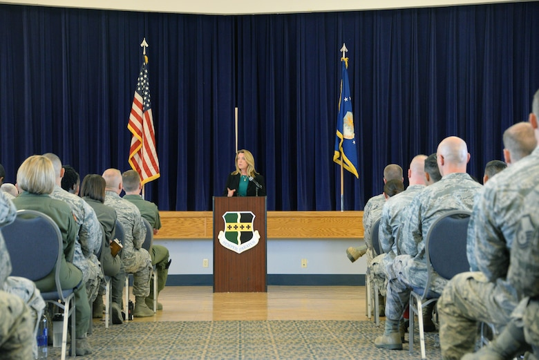 Secretary of the Air Force Deborah Lee James talks to members of Beale Air Force Base, California, during an all call at Beale Air Force Base, California, Aug. 11, 2015. James visited the base to receive a first-hand perspective of the intelligence, surveillance and reconnaissance mission and to address questions and concerns of Airmen. (U.S. Air Force photo/Robert Scott)