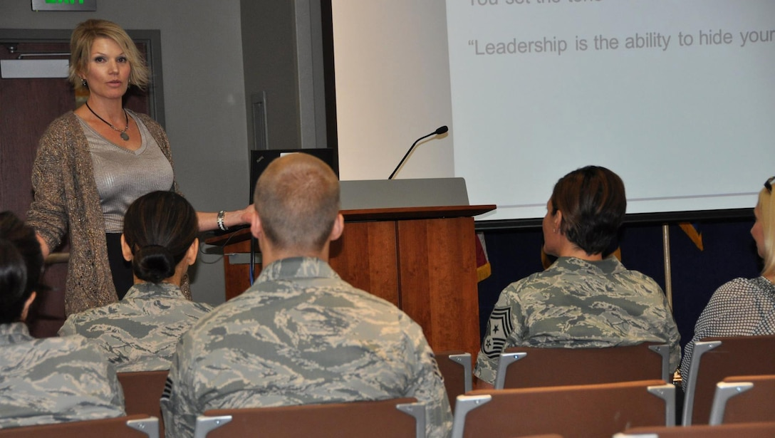 Christine Lynn, Air Reserve Personnel Center workforce development manager, addresses the audience Aug. 13, 2015, during ARPC's August leadership seminar at the ARPC headquarters building on Buckley Air Force Base, Colo. (U.S. Air Force photo/Tech. Sgt. Rob Hazelett)