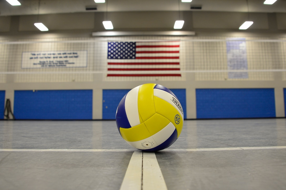 MCGHEE TYSON AIR NATIONAL GUARD BASE, Tenn. -A volleyball sits on the courts in Wilson Hall here, August 10, 2015, at the I.G. Brown Training and Education Center before the start of a 3-game series between members of Airman leadership school class 15-7 and TEC staff members.  (U.S. Air National Guard photo by Master Sgt. Jerry D. Harlan/Released)