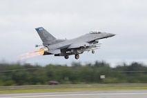 An F-16 Fighting Falcon assigned to the 179th Fighter Squadron at Duluth Air National Guard Base, Minn., takes off from Eielson Air Force Base, Alaska, Aug. 10, 2015, during Red Flag-Alaska 15-3. RF-A is a series of Pacific Air Forces field training exercises for U.S. and partner nation forces, providing combined offensive counter-air, interdiction, close air support and large force employment training in a simulated combat environment. (U.S. Air Force photo/Senior Airman Ashley Nicole Taylor)