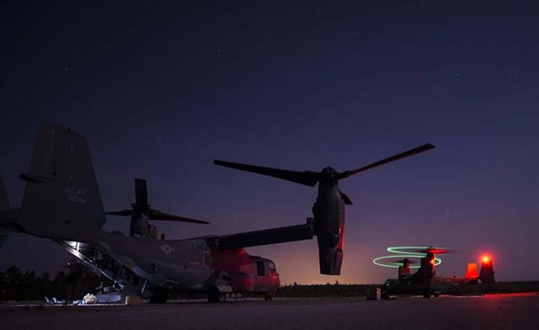 Maintainers with the 801st Special Operations Aircraft Maintenance Squadron were flown out to Eglin Range Complex, Fla., to perform routine repairs on a CV-22B Osprey July 28, 2015. The Osprey played an integral role during a recent task force exercise at Hurlburt Field, Fla. (U.S. Air Force photo/Senior Airman Christopher Callaway)