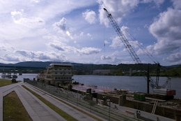 The Motor Vessel Mississippi is docked at Ross's Landing in Chattanooga, Tenn., Aug. 7, 2015. The M/V Mississippi spends more than 90 percent of its time as a working towboat, moving barges, equipment and supplies on the lower Mississippi River.  The M/V Mississippi, built in 1993 by Halter Marine, is the fifth Army Corps of Engineers towboat to bear the name.  It is the largest diesel towboat in the United States at 241-feet long, 58-feet wide and five stories high.  Three 2,100-horsepower diesel engines power the vessel.