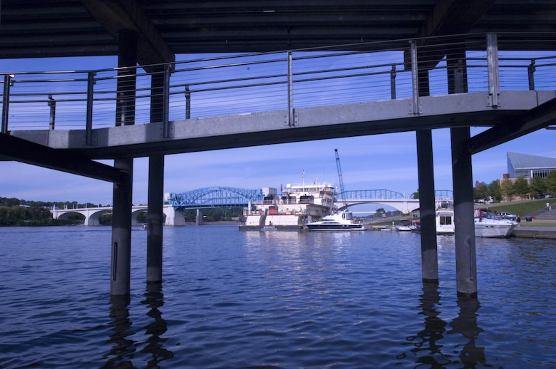 The Motor Vessel Mississippi is docked at Ross's Landing in Chattanooga, Tenn., Aug. 8, 2015. The M/V Mississippi spends more than 90 percent of its time as a working towboat, moving barges, equipment and supplies on the lower Mississippi River.  The M/V Mississippi, built in 1993 by Halter Marine, is the fifth Army Corps of Engineers towboat to bear the name.  It is the largest diesel towboat in the United States at 241-feet long, 58-feet wide and five stories high.  Three 2,100-horsepower diesel engines power the vessel. The vessel is the U.S. Army Corps of Engineers' largest diesel towboat and flagship to the Mississippi River Commission, which is inspecting Corps of Engineers projects along the Tennessee River as part of the commission's annual low water inspection trip.