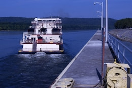 Motor Vessel Mississippi departs Guntersville Lock in Grant, Ala., the morning of Aug. 9, 2015.  The lock, which is located at Tennessee River Mile 349, is maintained and operated by the U.S. Army Corps of Engineers Nashville District.  The vessel is transporting the Mississippi River Commission, which is conducting a low water inspection of the Tennessee River.