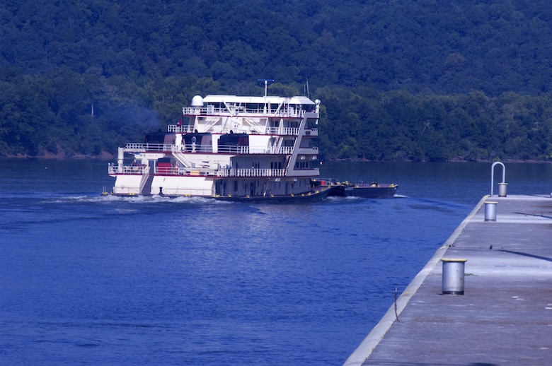Motor Vessel Mississippi heads down the Tennessee River after leaving Guntersville Lock in Grant, Ala., the morning of Aug. 9, 2015.  The lock, which is located at Tennessee River Mile 349, is maintained and operated by the U.S. Army Corps of Engineers Nashville District.  The vessel is transporting the Mississippi River Commission, which is conducting a low water inspection of the Tennessee River.