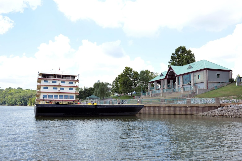 The Motor Vessel Mississippi is docked at McGregor Park in Clarksville, Tenn, Aug. 11, 2015 during a stop along the Cumberland River. The vessel is the U.S. Army Corps of Engineers' largest diesel towboat and flagship to the Mississippi River Commission, which is inspecting Corps of Engineers projects along the Cumberland River as part of the commission's annual low water inspection trip. The general duties of the MRC include the recommendation of policy and work flood control, navigation, and environmental projects on the Mississippi River, programs, the study of and reporting on the necessity for modifications to and conducting semiannual inspection trips and public hearings at various locations along the river. The work of the MRC is directed by its president and carried out by Army engineer districts from the watershed.