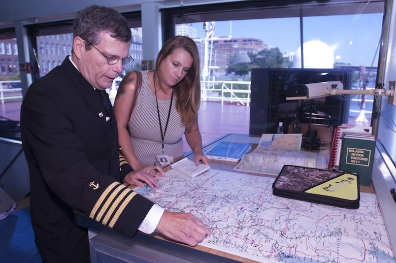 Motor Vessel Mississippi Capt. Lee Hendrix shows Tennessean Reporter Natalie Alund where the vessel traveled down the Tennessee River, through the Barkley Canal, and down the Cumberland River to Nashville, Tenn., during a low water inspection being conducted by the Mississippi River Commission. Aug. 12, 2015.