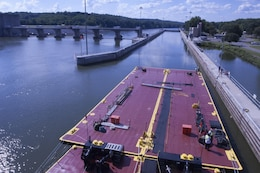 The Motor Vessel Mississippi arrives with a group of stakeholders at Cheatham Lock and Dam in Ashland City, Tenn., Aug. 12, 2015.  The stakeholders were onboard to interact with the Mississippi River Commission in the process of conducting a low water inspection of the Cumberland River.