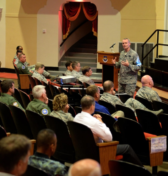 Lt. Gen. Darryl Roberson, commander of Air Education and Training Command, talks about his priorities for AETC during his first commander's call at Joint Base San Antonio-Randolph, Texas, Aug. 13, 2015. Roberson took command of AETC on July 21, 2015. (U.S. Air Force photo by Tech. Sgt. Joshua Strang)