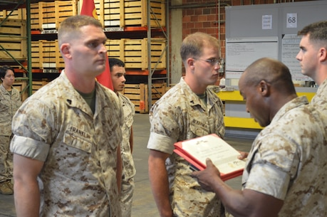 On the 3rd of August 2015 8th Communication Battalion recognized the outstanding work of two of its Marines from Headquarters Company with awards for their outstanding work within their fields. Cpl Franklin and Cpl Dekramer both showed by example that hard work and dedication to the mission does not go unrecognized within the Battalion.