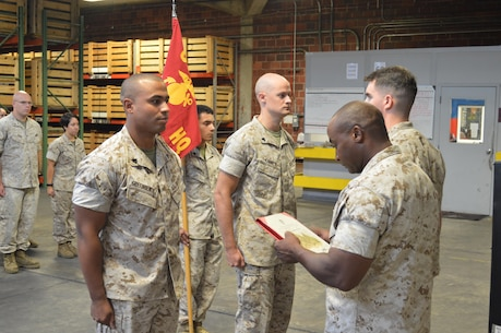 8th Communication Battalion taking time out of its morning to promote two Marines to the rank of Sergeant on the 3rd of August 2015. Sergeant Griffin and Sergeant Finney, will proudly carry on the legacy of those before them as they move into their new roles as Sergeants in the United States Marine Corps. Job well done Gentlemen.