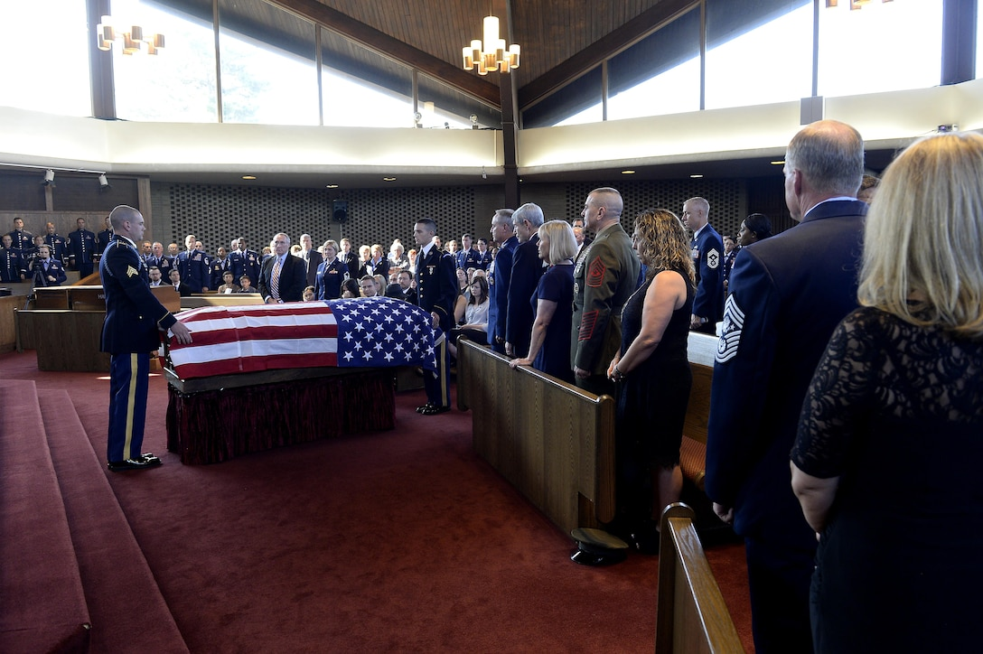 Chief Master Sgt. of the Air Force James Binnicker is laid to rest in Arlington National Cemetery, Va., Aug. 14, 2015. Binnicker passed away March 21 in Calhoun, Ga. (U.S. Air Force photo/Scott M. Ash)