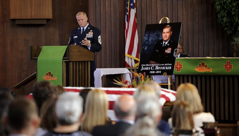 Chief Master Sgt. of the Air Force James A. Cody gives a eulogy in honor of the ninth Chief Master Sgt. of the Air Force James C. Binnicker, before he is laid to rest in Arlington National Cemetery, Va., Aug. 14, 2015. Binnicker passed away March 21 in Calhoun, Ga. (U.S. Air Force photo/Senior Airman Preston Webb)