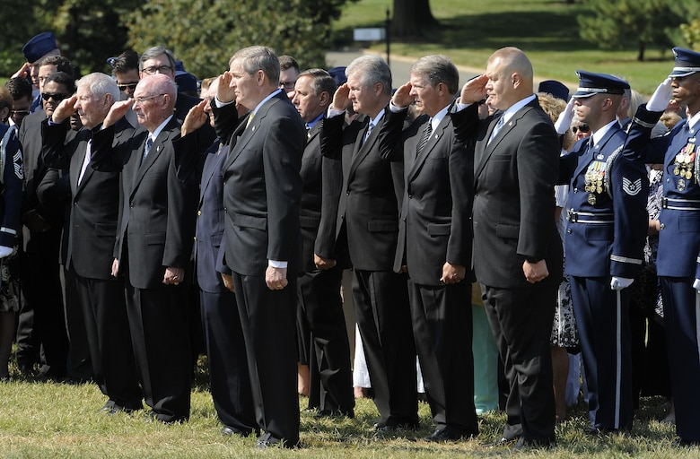 A group of former chief master sergeants of the Air Force attend the funeral for ninth Chief Master Sgt. of the Air Force James Binnicker in Arlington National Cemetery, Va., Aug. 14, 2015. Binnicker passed away March 21 in Calhoun, Ga. (U.S. Air Force photo/Tech. Sgt. Dan DeCook)