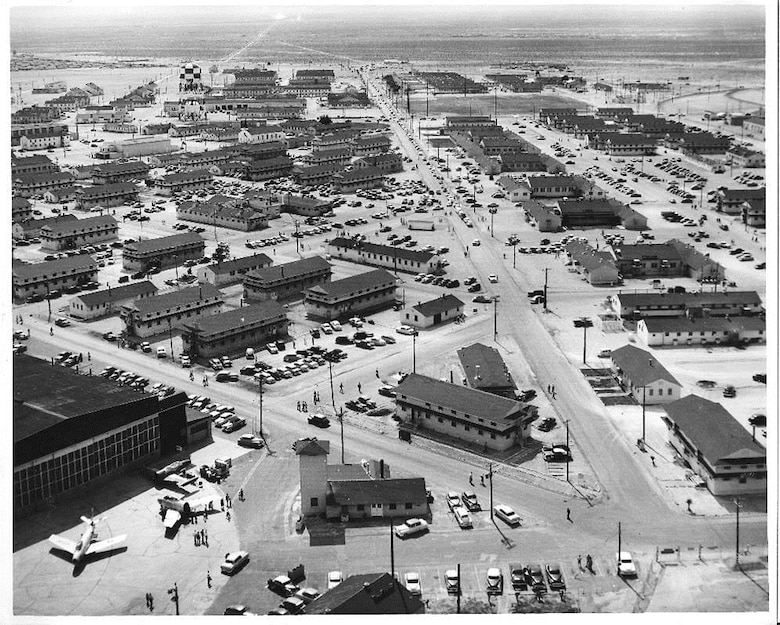 At the end of the Korean War, Nellis Air Force Base had expanded exponentially since its pre-World War II days, as seen here in 1956. The base, which was renamed to Nellis AFB in 1950, is coming up on its 75th anniversary in 2016. (Courtesy photo)