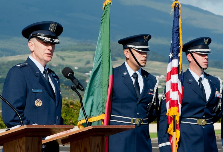 Lt. Gen. Timothy Ray, commander of the Third Air Force and 17th Expeditionary Air Force, speaks to members of the 65th Air Base Group during a Redesignation Ceremony on Lajes Field, Azores, Portugal, August 14, 2015. With this Redesignation Ceremony the 65th Air Base Group is now aligned under the 86th Airlift Wing and remains positioned to provide agile combat support and services to aircraft and aircrews. (U.S. Air Force photo by Master Sgt. Bradley C. Church)