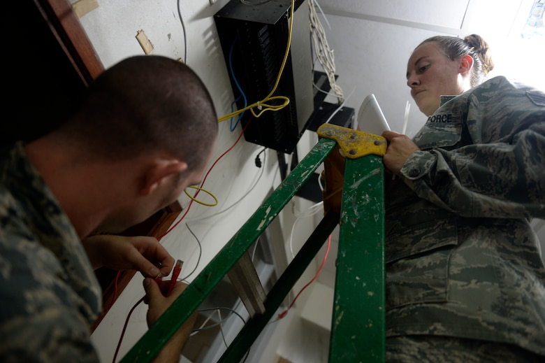U.S. Air Force Senior Airman Christopher Harkins radio frequency transmissions craftsman assists U.S. Air Force Tech Sgt. Jasmine Matus, radio frequency transmissions craftsman, both of the 35th Combat Communications Squadron as she reconfigures the router for the Dr. Salvador Paredes Hospital in Trujillo, Honduras, July 9, 2015, Matus and Harkins were in the hospital to repair its ailing network infrastructure as part of the New Horizons Honduras 2015 training exercise.   New Horizons was launched in the 1980s and is an annual joint humanitarian assistance exercise that U.S. Southern Command conducts with a partner nation in Central America, South America or the Caribbean. The exercise improves joint training readiness of U.S. and partner nation civil engineers, medical professionals and support personnel through humanitarian assistance activities.  (U.S. Air Force photo by Capt. David J. Murphy/Released)