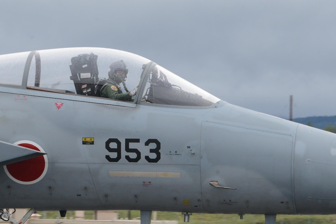 A Japanese Air Self-Defense Force F-15J Eagle pilot taxis at Eielson Air Force Base, Alaska, Aug. 10, 2015, during RED FLAG-Alaska 15-3. RF-A is a series of Pacific Air Forces commander-directed field training exercises for U.S. and partner nation forces, providing combined offensive counter-air, interdiction, close air support and large force employment training in a simulated combat environment. (U.S. Air Force photo by Senior Airman Ashley Nicole Taylor/Released)
