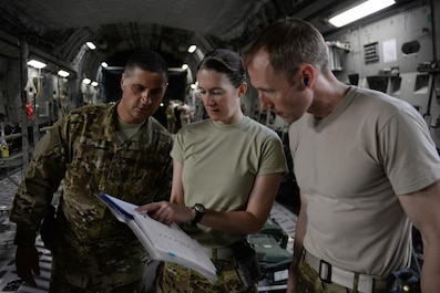 "U.S. Air Force Senior Airman Margaret ""Maggie"" Mathewes, center, 455th Expeditionary Aeromedical Evacuation Squadron AE technician deployed from the Air Force Reserve's 315th Aeromedical Evacuation Squadron at Joint Base Charleston, South Carolina , reviews an AE checklist with Tech. Sgt. Russell ""Rusty"" McLamb, left, 455th Expeditionary Aeromedical Evacuation Squadron AE technician deployed from the North Carolina Air National Guard's 156th AES,  and Capt. Derek Martindale, right, 455th EAES flight nurse deployed from the 315th AES, prior to loading patients onto a C-17 Globemaster III aircraft at Bagram Airfield, Afghanistan, Aug. 8, 2015.  (U.S. Air Force photo by Maj. Tony Wickman/Released)"