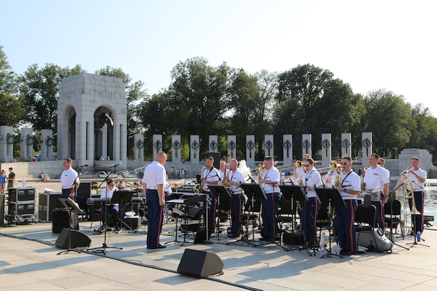 On Aug. 16, 2015, the U.S. Marine Big Band performed at the National World War II Memorial in Washington, D.C., in commemoration of the 70th anniversary of the end of World War II.  (U.S. Marine Corps photo by Staff Sgt. Rachel Ghadiali/released)