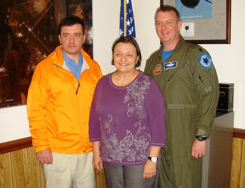 From left to right: Retired Major William A. Allen, Martha Coley and retired Lt. Col. Stephen R. Allen are pictured at McEntire Joint National Guard Base in Hopkins, South Carolina January 2014.