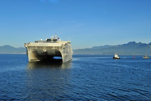 DA NANG, Vietnam (Aug. 17, 2015) - The Military Sealift Command joint high speed vessel USNS Millinocket (JHSV 3) arrives in Vietnam, the fifth Pacific Partnership 2015 mission stop for the ship and embarked Task Force Forager. Millinocket is serving as the secondary platform for Pacific Partnership, led by an expeditionary command element from the Navy's 30th Naval Construction Regiment (30 NCR) from Port Hueneme, Calif. Now in its 10th iteration, Pacific Partnership is the largest annual multilateral humanitarian assistance and disaster relief preparedness mission conducted in the Indo-Asia Pacific region. While training for crisis conditions, Pacific Partnership, missions have provided medical care to approximately 270,000 patients and veterinary service to more than 38,000 animals. Additionally, Pacific Partnership has provided critical infrastructure development to host nations through the completion of more than 180 engineering products.