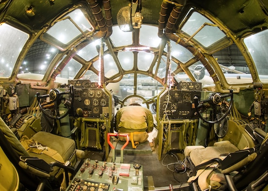 "DAYTON, Ohio - Boeing B-29 Superfortress ""Bockscar"" interior view of the cockpit in the WWII Gallery at the National Museum of the U.S. Air Force. (U.S. Air Force photo)"