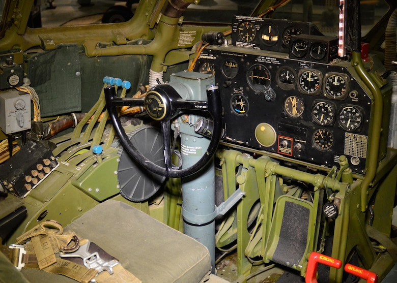 "DAYTON, Ohio - Boeing B-29 Superfortress ""Bockscar"" interior view of the pilot position in the WWII Gallery at the National Museum of the U.S. Air Force. (U.S. Air Force photo)"