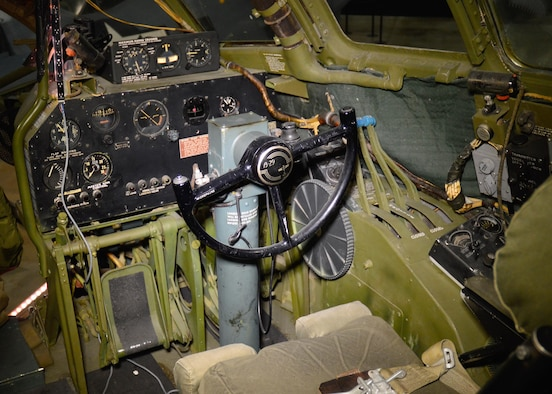 "DAYTON, Ohio - Boeing B-29 Superfortress ""Bockscar"" interior view of the copilot position in the WWII Gallery at the National Museum of the U.S. Air Force. (U.S. Air Force photo)"