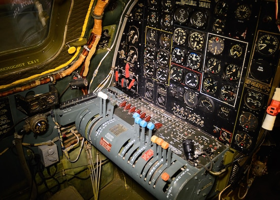 "DAYTON, Ohio - Boeing B-29 Superfortress ""Bockscar"" interior view of the engineer position in the WWII Gallery at the National Museum of the U.S. Air Force. (U.S. Air Force photo)"