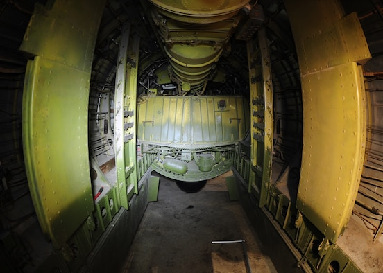 "DAYTON, Ohio - Boeing B-29 Superfortress ""Bockscar"" interior view of the bomb bay in the WWII Gallery at the National Museum of the U.S. Air Force. (U.S. Air Force photo)"