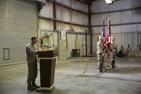 U.S. Marine Col. Jay M. Bargeron, the commanding officer of 7th Marine Regiment, recounts the regiment's history and individual heroics during the unit's 98th anniversary ceremony, held in an undisclosed location in Southwest Asia, Aug. 15, 2015. The 7th Marine Regiment Headquarters and 3rd Battalion, 7th Marines are currently deployed with the SPMAGTF-CR-CC and took time to remember the regiment's storied history and rededicate themselves to their current work with Operation Inherent Resolve.