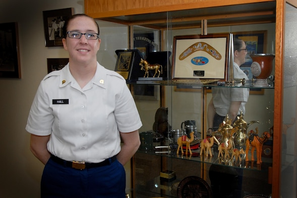 U.S. Army Spc. Ashley E. Hall, 316th Training Squadron student, poses for a photo on in Brandenberg Hall on Goodfellow Air Force Base, Texas, Aug. 7, 2015. Hall is the 17th Training Group July Student of the Month Spotlight, a series highlighting Team Goodfellow students. (U.S. Air Force photo by Senior  Airman Joshua Edwards/Released)
