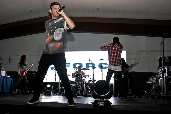 Sean Foreman performs with his electronic music group 3OH!3 for Airmen and family members Aug. 16, 2015, at Andersen Air Force Base, Guam. The concert was held at the Sunrise Conference Center after a weekend of heavy rain. (U.S. Air Force photo by Airman 1st Class Alexa Ann Henderson/Released)