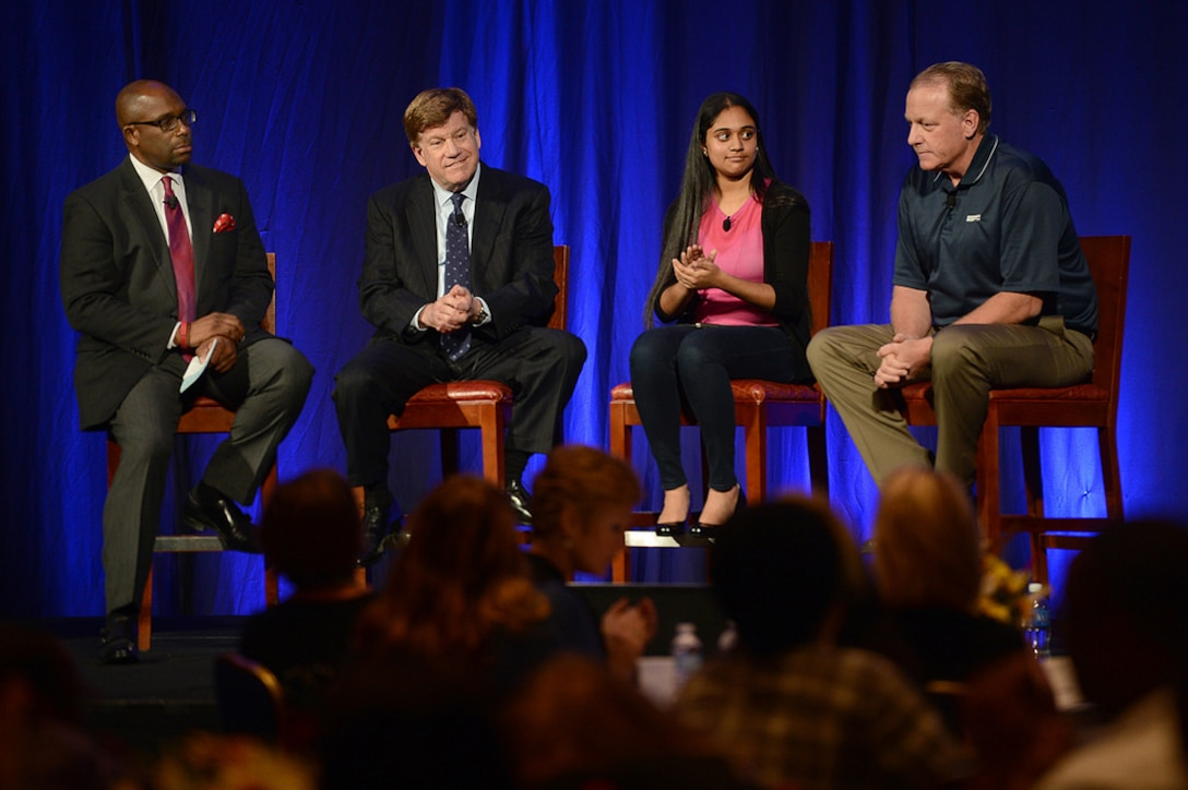Trisha Prabhu tells fellow panel members and audience members about her real-life experiences with cyberbullying and how she made a difference during a panel discussion at the Military Child Education Coalition's 2015 National Training Seminar in Washington, D.C., July 31, 2015. DoD photo by Marvin Lynchard