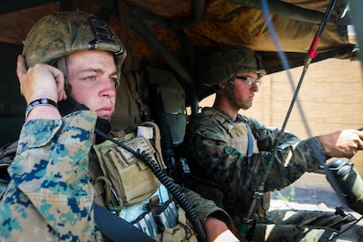 Corporal Richard Bork, left, an assaultman from Midland, Mich., and Pfc. Maverick Peterson, a basic rifleman from New London, Wis., both with Company B, 1st Battalion, 1st Marine Regiment, drive an M1161 Internally Transportable Vehicle through a simulated combat town during the first phase of a Limited Objective Experiment aboard Marine Corps Base Camp Pendleton, Calif., Aug. 13, 2015. The experiment is comprised of the integration of ITVs with infantry units to provide the Marine Corps Warfighting Laboratory with an understanding of how the vehicles will be added to the battalions. The second part of the experiment will take place at Fort Hunter Liggett, Calif., which will provide the Marines with extensive amounts of terrain to test the vehicles' capabilities over a 3-week training period. (U.S. Marine Corps Photo by Sgt. Rick Hurtado / Released)