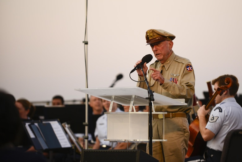 Retired Army Air Corps Capt. Jerry Yellin speaks briefly before taking part in a wreath-laying ceremony commemorating the 70th anniversary of the end of World War II, Aug. 14, 2015, at the Air Force Memorial in Arlington, Virginia. There was also a four-ship P-51 Mustang flyover, as well as a concert performed by the Air Force Band.  (Air Force photo/Tech. Sgt. Joshua L. DeMotts)