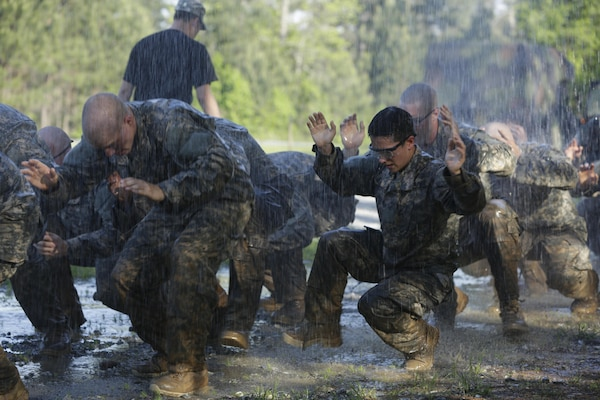 In this file photo, soldiers test their physical stamina during the Ranger Course on Fort Benning, Ga., April 21, 2015. Soldiers attend the course to learn additional leadership, and technical and tactical skills in a physically and mentally demanding, combat simulated environment. U.S. Army photo by Sgt. Paul Sale