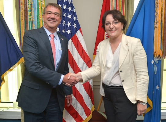 U.S. Defense Secretary Ash Carter shakes hands with Georgian Defense Minister Tinatin Khidasheli as they pose for a photo at the Pentagon, Aug. 18, 2015. DoD photo by Glenn Fawcett