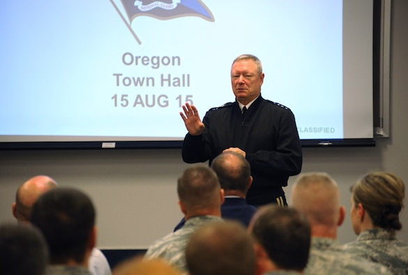 Army Gen. Frank J. Grass, Director of the National Guard Bureau, addresses Airmen at the Portland Air National Guard Base, Ore., during a town hall event, Aug. 15, 2015. Grass, as well as his senior enlisted advisor Air Force Chief Master Sgt. Mitchell O. Brush, was making their second trip Oregon in the past two years. (U.S. Air National Guard photo by Tech. Sgt. John Hughel, 142nd Fighter Wing Public Affairs/Released)