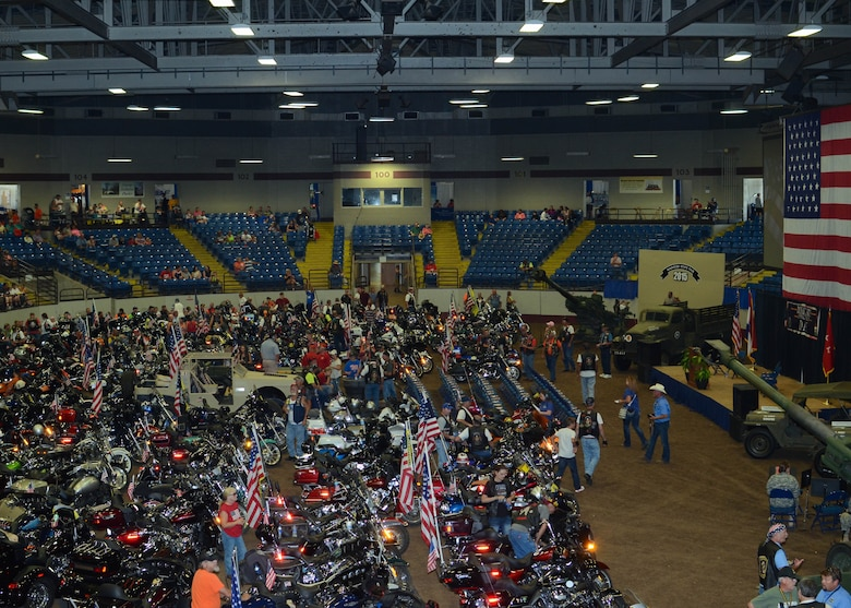 Approximately 175 Patriot Riders filled the Matthewson Exhibition Center at the Missouri State Fair on Military Appreciation Day, August 16, 2015. (U.S. Air National Guard photo by Staff Sgt. Brittany Cannon)