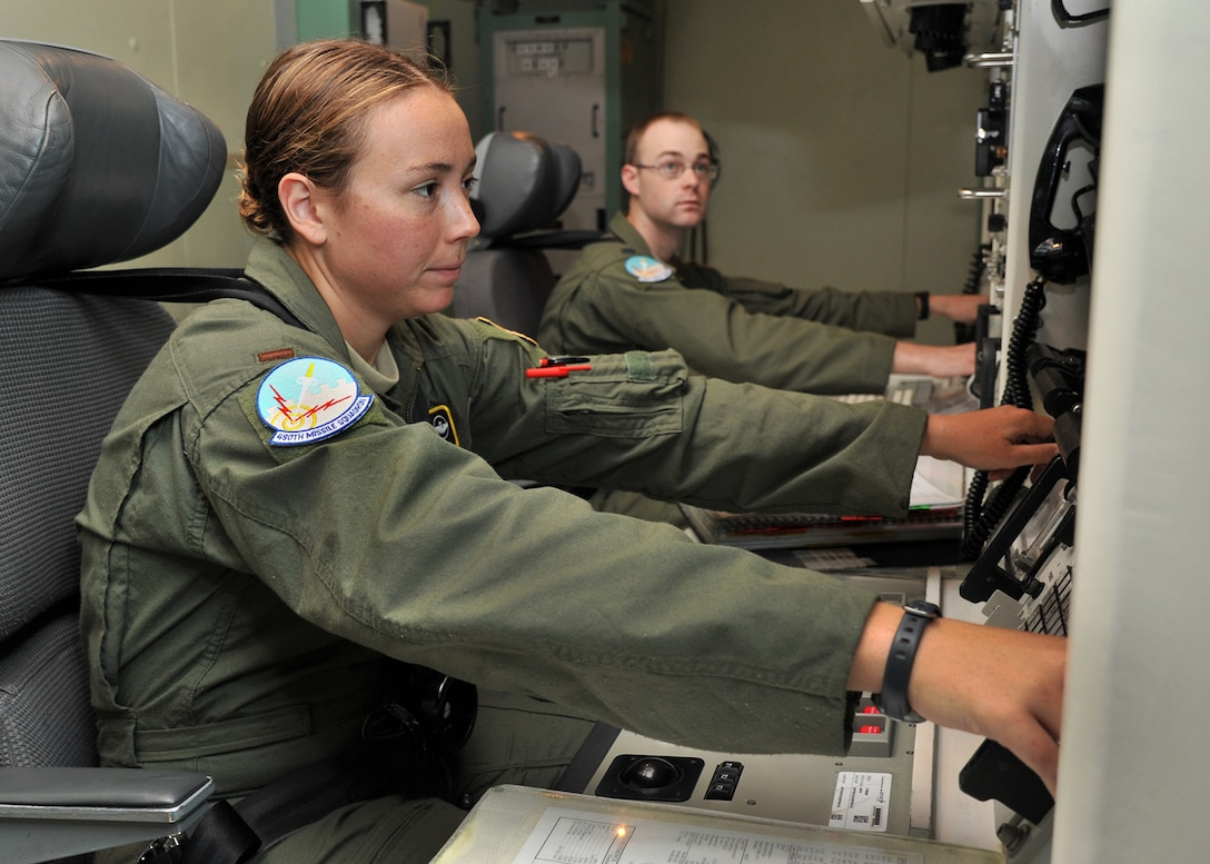 2nd Lt. Angelica Phillips, 490th Missile Squadron deputy crew commander, left, and 1st Lt. Joseph Whelan, 490th MS crew commander, practice coordination of an Emergency War Order action in the missile procedures trainer Aug. 8, 2015, during a training session at Malmstrom Air Force Base, Mont., for Global Strike Challenge 2015. The crew is one of three from the 341st Operations Group that will compete Aug. 31 against Minot AFB, N.D., and F.E. Warren AFB, Wyo., in Air Force Global Strike Command's annual ICBM Operations competition. (U.S. Air Force photo/ John Turner)