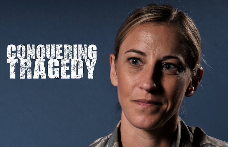 U.S. Air Force 1st Lt. Allison R. Schore, a medical administrative officer at the 182nd Medical Group, recalls surviving a traumatic event for an interview at the 182nd Airlift Wing, Peoria, Ill., May 29, 2015. Schore had good foundations in mental, physical, social and spiritual wellness that helped her remain resilient after the tragedy. (U.S. Air National Guard photo illustration by Staff Sgt. Lealan Buehrer/Released) (This image was manipulated by altering the background color, applying cosmetic touch-ups and adding text.)