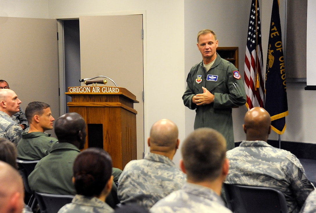 Brig. Gen. Russell L. Mack, Headquarters Air Combat Command Inspector General, speaks to members of the 142nd Fighter Wing at the start of a Unit Effectiveness Inspection (UEI) Aug. 14, 2015, Portland Air National Guard Base, Ore. (U.S. Air National Guard photo by Tech. Sgt. John Hughel, 142nd Fighter Wing Public Affairs)