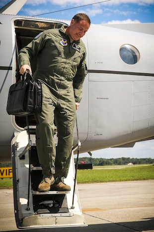 Air Force Lt. Gen. Christopher C. Bogdan steps off a C-12 Huron to begin his visit aboard Marine Corps Air Station Beaufort Aug 19. Bogdan visited the air station to assess the progress of the F-35 program and to get some face time with pilots, maintainers and the command. Bogdan is the Program Executive Officer for the F-35 Lightning II Joint Program Office in Arlington, Va.