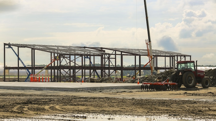 The structure of the new F-35B Lightning II hangar begins to appear aboard Marine Corps Air Station Beaufort. The construction started with laying the foundation of the structure last year. Now the frame of the finished product has begun to take shape on the flight line.