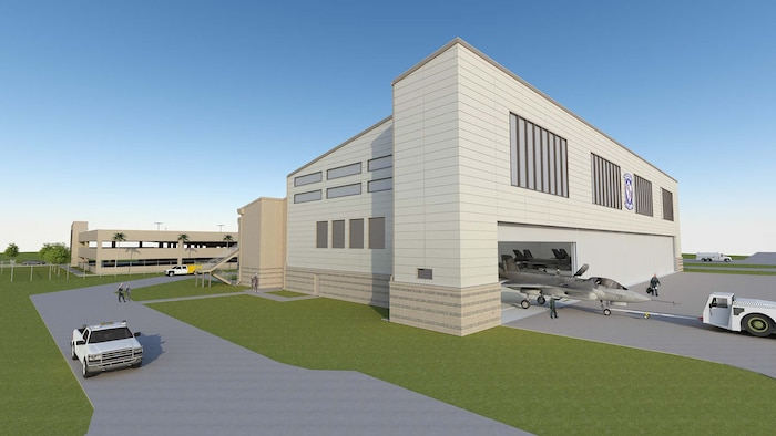 A graphic illustration of the new F-35B Lightning II hangar slated to be completed Oct. 2016 aboard Marine Corps Air Station Beaufort. The construction project includes aircraft parking near the hangars and an aircraft access apron. A three-level parking garage is being constructed adjacent to the brand new facility.