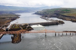 The Dalles Lock and Dam is located on the Columbia River near The Dalles, Oregon.